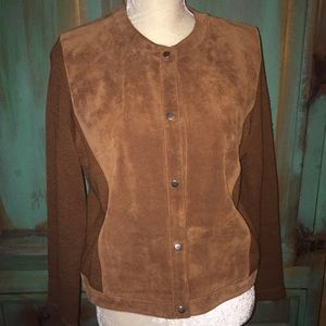 Sensations Brown Suede Sweater Jacket L